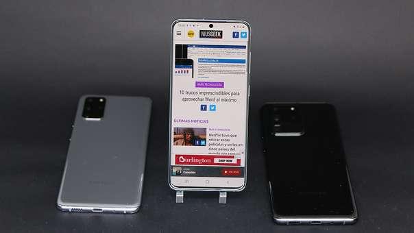 Galaxy S20+ (izquierda), Galaxy S20 (centro) y Galaxy S20 Ultra (derecha).