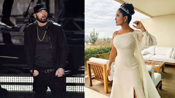 El abrazo entre Salma Hayek y Eminem.