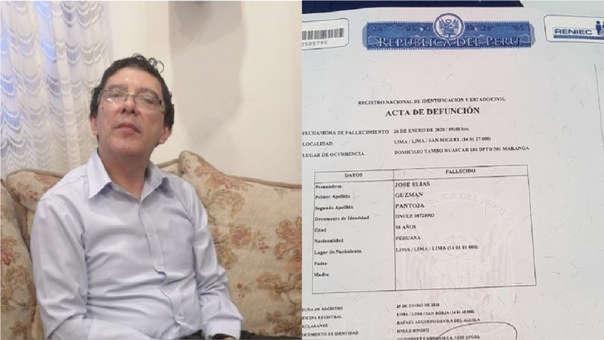 Según el Reniec, José Guzmán de 58 años murió a las 9 de la mañana del último 26 de enero de un paro cardíaco.