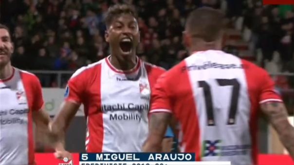 Miguel Araujo marcó su primer gol en FC Emmen de Holanda.