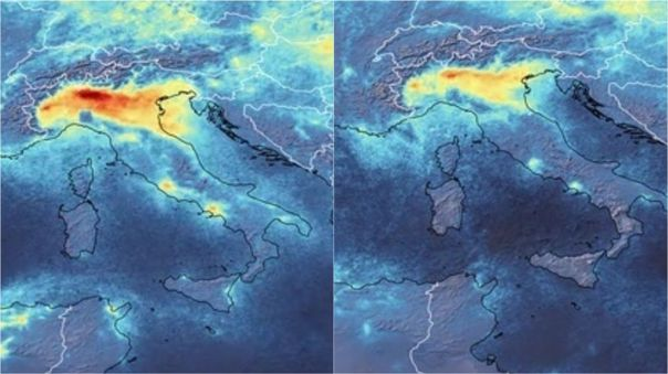 El antes y después de la polución en el norte de Italia.