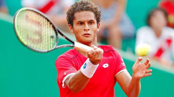 Juan Pablo Varillas durante el partido ante Suiza por la Copa Davis