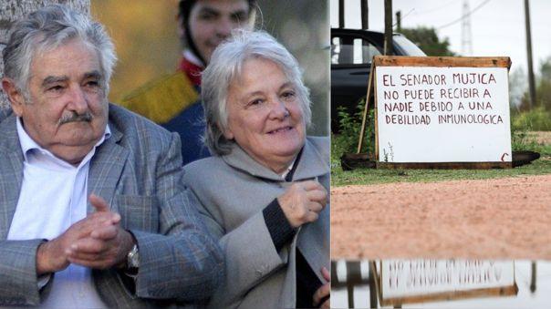 Izquierda: Luis Mujica y Lucía Topolansky, senadores uruguayos. Derecha: el cartel colocado afuera de su residencia.