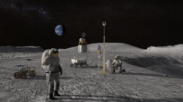 Arte conceptual de astronautas EVA en la Luna.
