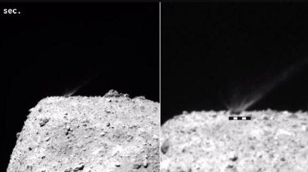 Momento del impacto de un proyectil en el asteroide Ryugu