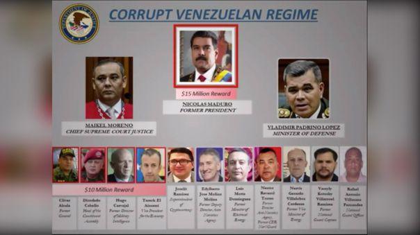 El Ejecutivo estadounidense ofrece 10 millones por otras tres importantes figuras venezolanas: el vicepresidente económico, Tareck El Aissami; el exgeneral venezolano Hugo Carvajal, y el exjefe militar Cliver Alcalá Cordones.