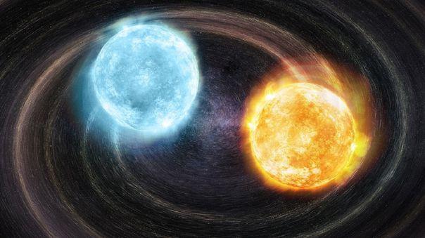 Concepto artístico de la primera fuente de onda gravitacional en