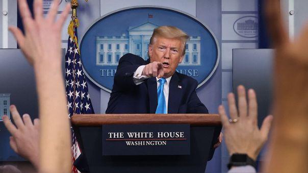 Donald Trump en su conferencia de prensa en la Casa Blanca.