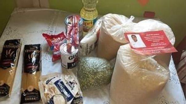 Canasta de alimentos fue repartida con rostro y mensaje de alcalde de Pitipo