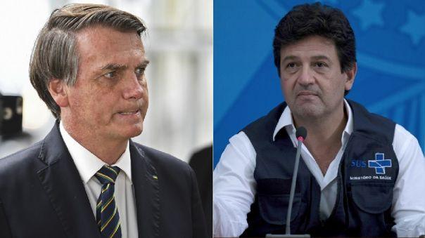 Jair Bolsonaro, presidente de Brasil, y Luiz Henrique Mandetta, ministro de Salud de Brasil.