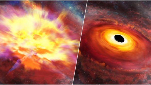 Ilustración artística. Izquierda: La galaxia que alberga SDSS J135246.37 + 423923.5 es tapada por la tempestad. Derecha: Ondas infrarrojas permiten tener una idea más clara de cómo luce.