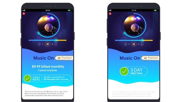 Términos de la prueba gratuita especificados en la app