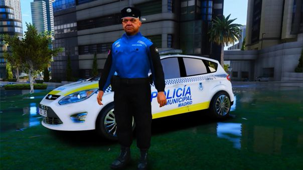 La Policía de Madrid también compartió un patrullero y un efectivo en el juego de Rockstar.