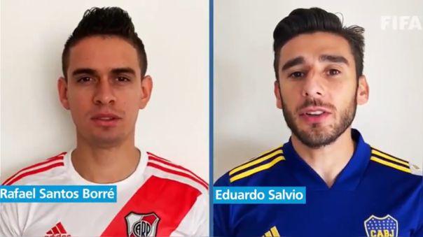 Rafael Santos Borré y Eduardo Salvio en el video de FIFA y la OMS dando recomendaciones saludables