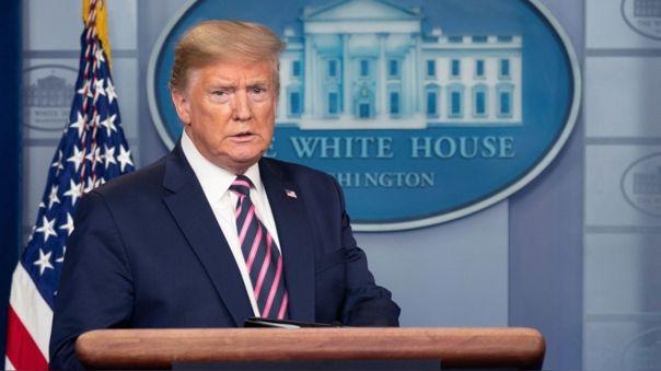 Donald Trump durante su conferencia de este viernes, en la que no respondió preguntas de la prensa.