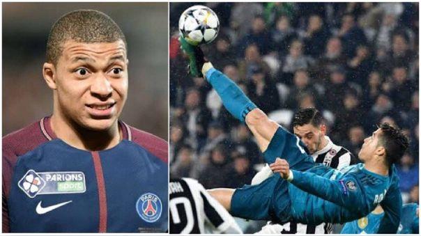 Cristiano Ronaldo y Kylian Mbappé enfrentándose en la Champions League