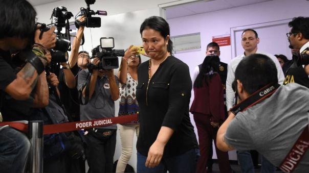 Keiko Fujimori el día en que se le dictaron 15 meses de prisión preventiva.