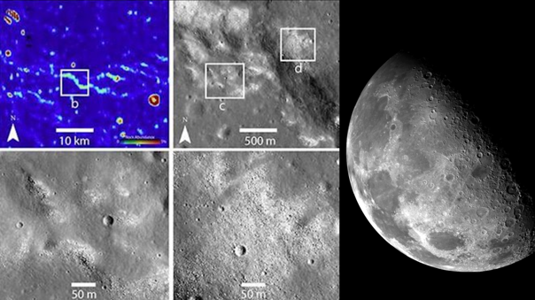 Imágenes del LRO de la NASA lograron identificar grietas producidas por un posible sisterma tectónico activo al intyerior de la Luna