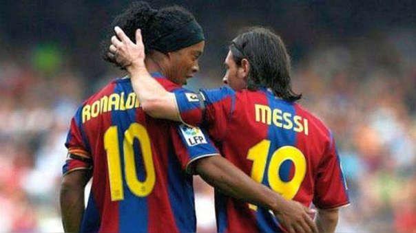 Ronaldinho y Lionel Messi