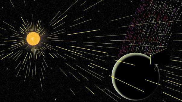 Ilustración de iones de carbono emitidos desde la Luna