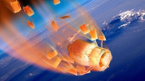 Ilustración de un satélite desintegrándose al entrar a la atmósfera.