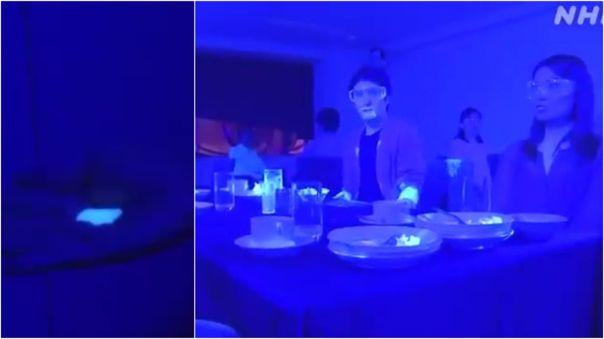 La pintura usada en el experimento llegó a todos los comensales.