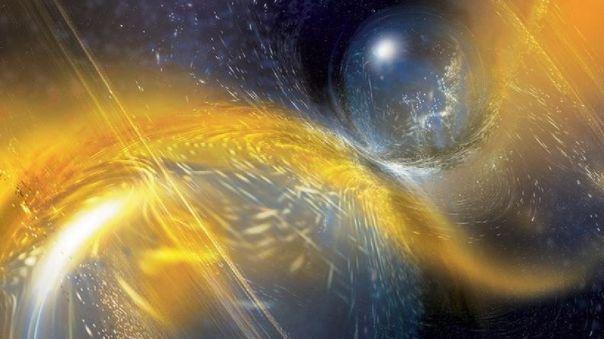 Ilustración de la fusión de dos estrellas de neutrones
