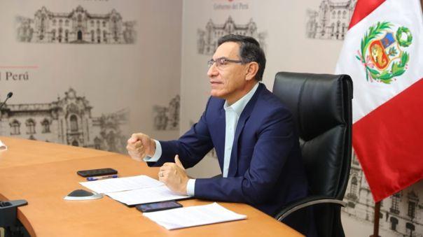 Martín Vizcarra durante la reunión vía videoconferencia con sus pares de Colombia, Chile y Uruguay.