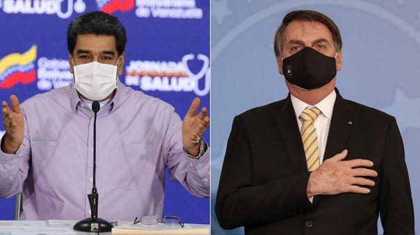 Nicolás Maduro y Jair Bolsonaro, presidente de Venezuela y Brasil.