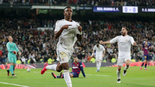 Vinicius Jr. celebrando su último gol ante el FC Barcelona