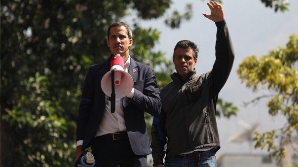 Juan Guaidó y Leopoldo López, del partido Voluntad Popular (abril del 2019)