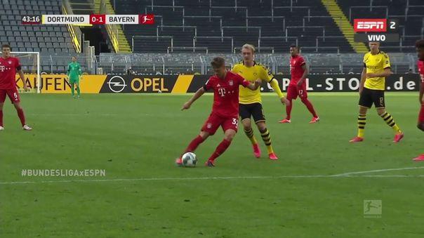 Golazo del 'todoterreno' Kimmich: volante del Bayern le marcó al Dortmund con un 'sombrerito'
