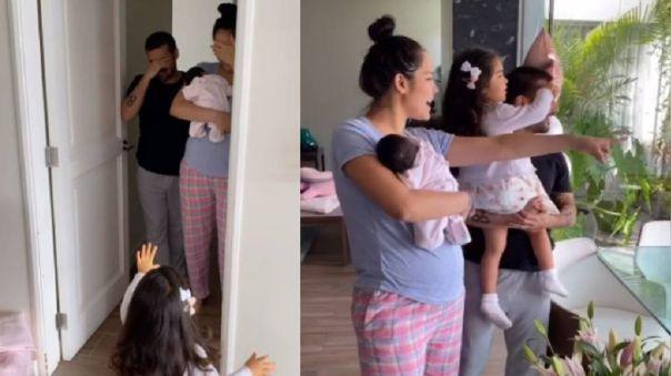 Karen Schwarz y Ezio Oliva recibieron sorpresa de su hija mayor.