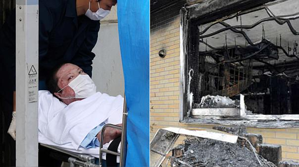 Izquierda: Shinji Aoba, el confeso autor del incencio. Derecha: así quedó el estudio tras el fuego.