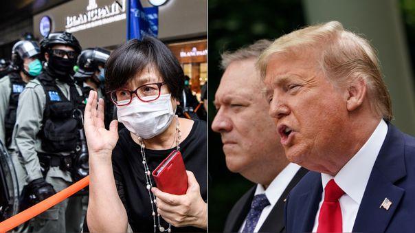 Izquierida: escena durante las nueva protestas en Hong Kong. Derecha: Donald Trump junto a su secretarios de Estados, Mike Pompeo.