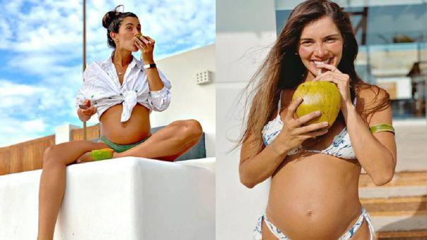 Korina Rivadeneira muestra ecografía de su embarazo.