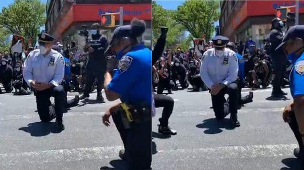 Los policías, con la cabeza gacha, se unieron para leer los nombres de hombres y mujeres negros que murieron a manos de la policía. Después se pudo ver a los manifestantes y a los oficiales dándose la mano y abrazándose.