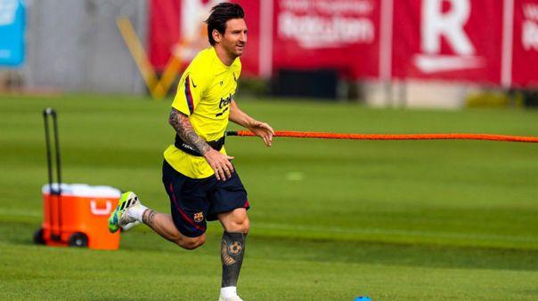 Lionel Messi durante los entrenamientos del Barcelona