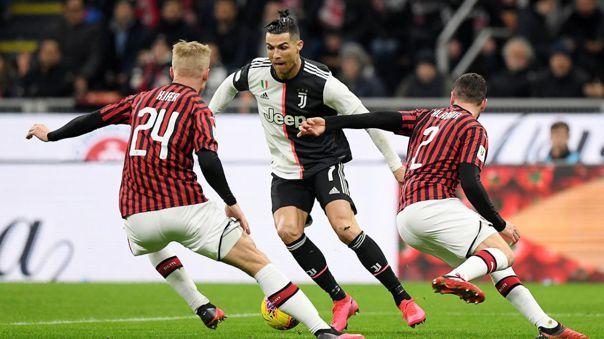 Cristiano Ronaldo marcó un gol en el duelo de ida de la Copa Italia ante el AC Milan