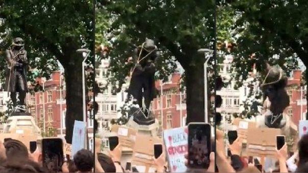 La estatua de bronce de Edward Colston fue erigida en 1895 en una calle que lleva su nombre en esa ciudad de Inglaterra.
