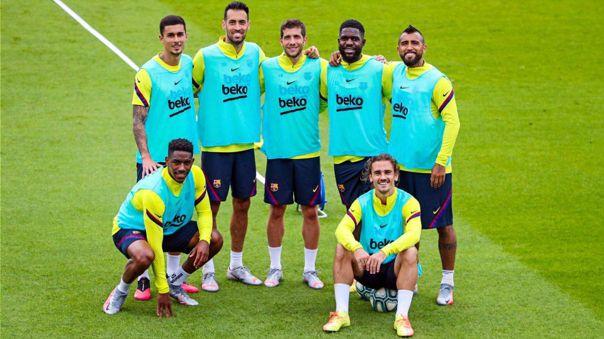 Antoine Griezmann en entrenamiento de Barcelona.