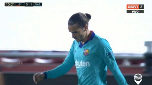 Antoine Griezmann falló clara ocasión de gol para el FC Barcelona