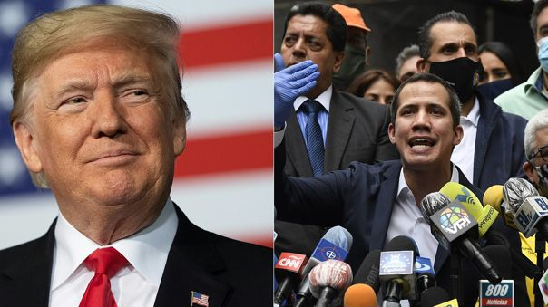 Izquierda: Donald Trump, presidente de los Estados Unidos. Derecha: Juan Guaidó, líder opositor venezolano.