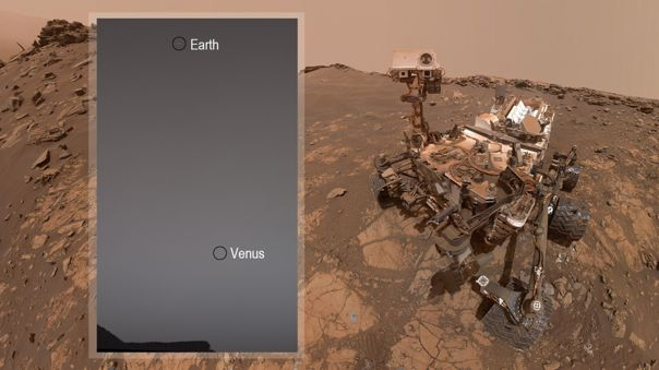 La Tierra y Venus, fotografiados por Curiosity.
