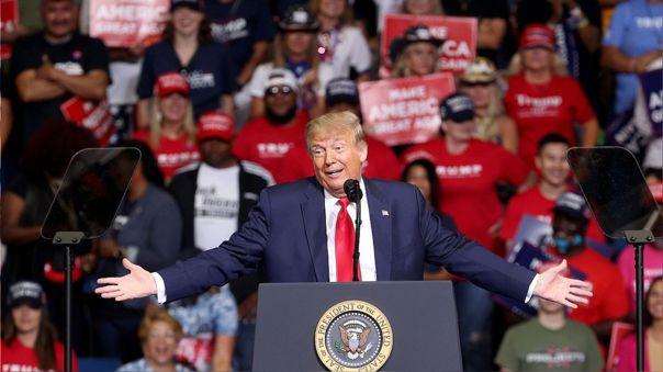 Donald Trump durante su mitin de este sábado en Tusla, Oklahoma.