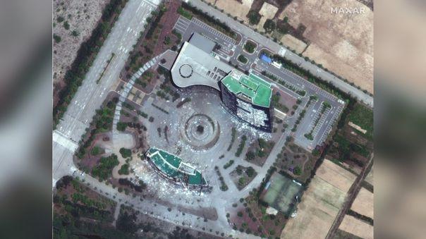 Imagen satelital  que muestra la oficina de relaciones intercoreanas destruida por fuerzas norcoreanas.