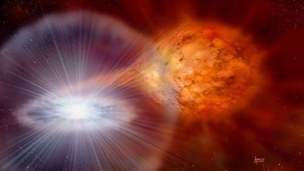 Ilustración artística de la explosión de una nova recurrente, RS Ophiuchi. |