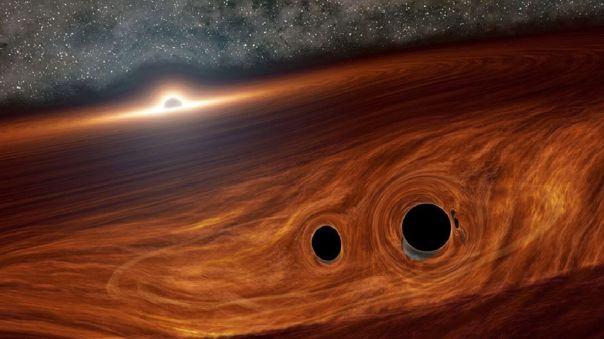 Concepto artístico de un agujero negro supermasivo y su disco de