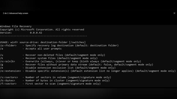 Línea de comando para recuperar archivos con Windows File Recovery