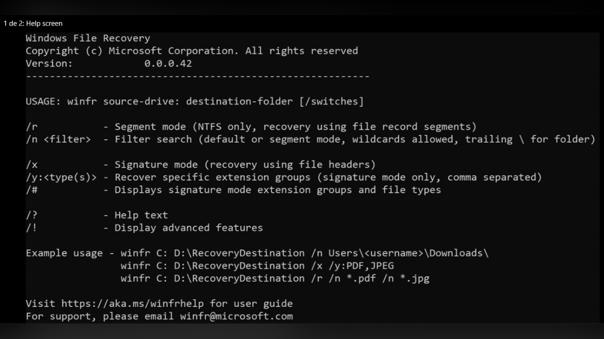 Línea de comandos de Windows File Recovery.